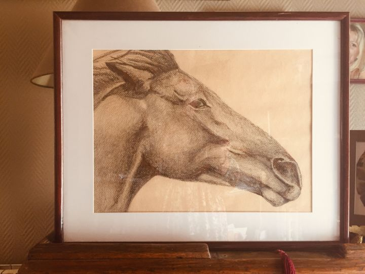 """Drawing titled """"Cheval"""" by Pascale Ladoux, Original Art, Charcoal"""