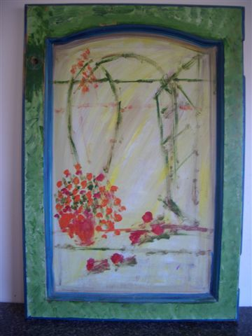 """Painting titled """"Geraniums"""" by Lady Carolyne, Original Art, Oil"""