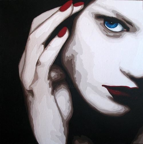 Quand il croisa son regard - Painting ©2010 by Lady Caviar -
