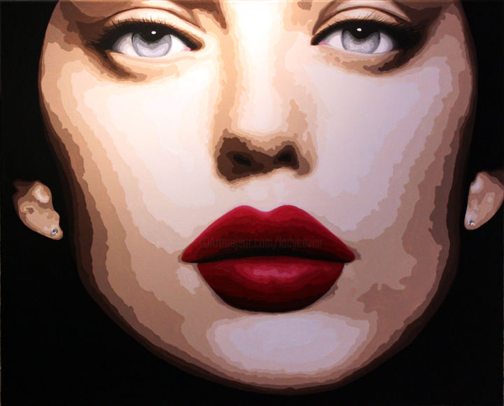 Missy Paterson - Painting,  31.5x39.4 in, ©2014 by Lady Caviar -                                                                                                                                                                                                                                                                                                                                                                                                                                                                                                                                                                                                              glamour, chair, argent, yeux, bouche, chair, visage, femme, missy, Paterson, belle, sensuelle, féminine