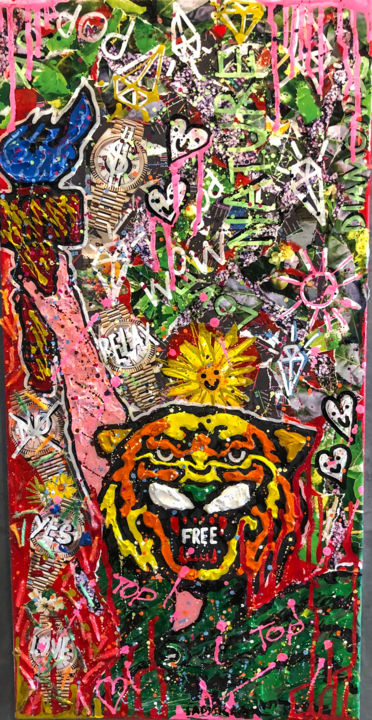 """Painting titled """"Rebel Nature"""" by Lady Kla, Original Art, Collages Mounted on Wood Panel"""