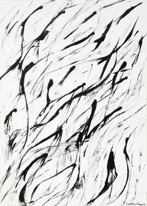 L'envol - Painting,  15.8x11.8 in, ©2018 by Lëty Création -                                                                                                                                                                                                                                                                                                                                                                                                                                                                                                                                                                                                                                      Abstract, abstract-570, Animals, Abstract Art, Calligraphy, Body, Black and White, encre de chine, oiseau, vol, envol, noir et blanc, l'envol