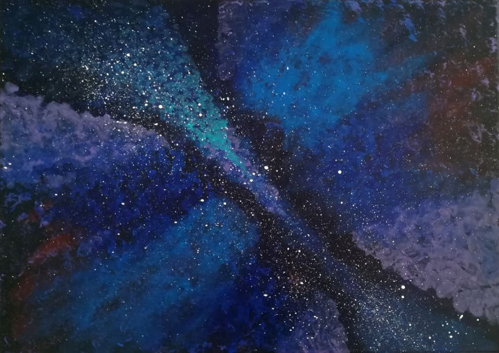 Galactic wonder - Painting,  19.7x27.6 in, ©2018 by Lëty Création -                                                                                                                                                                                                                                                                                                                                                                                                                                                                                                                                                                                                                                                                                                                                                                                                                                                                  Abstract, abstract-570, Body, Outer Space, galaxie, galactique, peinture, acrylique, Galactic wonder, wonderfull, galactic, univers, étoiles, nuage, cieux, ciel, astre, astronomie