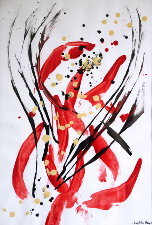 Expression de joie - Painting,  16.5x11.7 in, ©2019 by Lëty Création -                                                                                                                                                                                                                                                                                                                                                                                                                                                                                                                                                                                                                                      Abstract, abstract-570, Abstract Art, Spirituality, expression, joie, sentiments, émotions, danse, passion, mouvement, rouge, noir