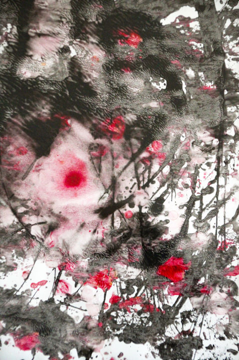L'amour a vaincu la mort 01 - Painting,  11.7x8.3 in, ©2020 by Lëty Création -                                                                                                                                                                                                                                                                                                                                                                                                                                                                                                                                                                                                                                      Abstract, abstract-570, Abstract Art, Spirituality, amour, victoire, mort, vie, passion, Christ, sang, force, pardon