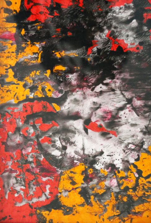 L'amour a vaincu la mort 01 - Painting,  11.7x8.3 in, ©2020 by Lëty Création -                                                                                                                                                                                                                                                                                                                                                                                                                                                                                                                                                                                                                                                                                                                                                                          Abstract, abstract-570, Abstract Art, Spirituality, amour, destruction, mort, vie, passion, Christ, sang, force, pardon, rouge, orange, noir