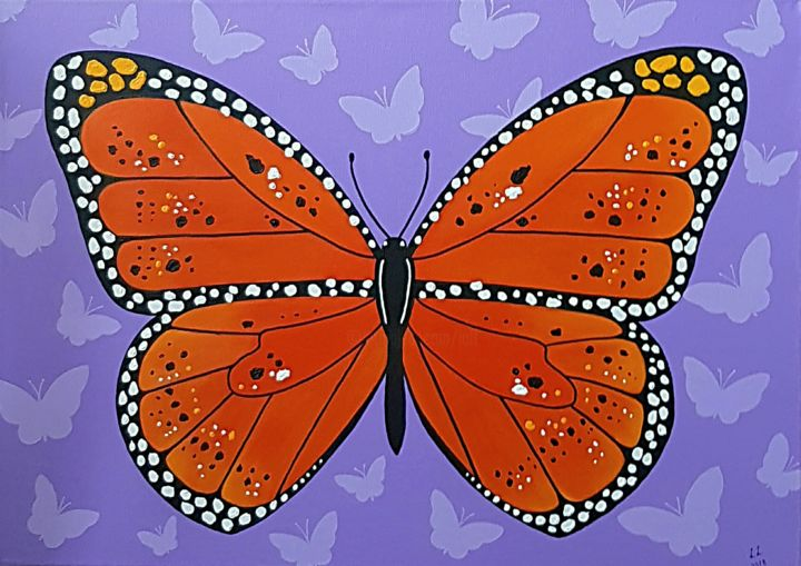 Butterfly - Painting,  19.7x27.6x1 in, ©2018 by Ana Von Laff -                                                                                                                                                                          Abstract, abstract-570, Fantasy