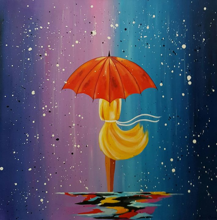 Rain - Painting,  27.6x27.6x1 in, ©2016 by Ana Von Laff -                                                                                                                                                                          Abstract, abstract-570, artwork_cat.Love/Romance