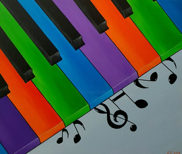 Piano - Painting,  19.7x23.6x1 in, ©2016 by Ana Von Laff -                                                                                                                                                                          Abstract, abstract-570, Music