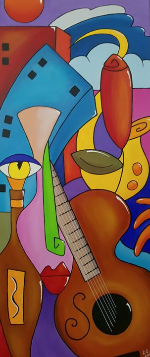 City of the music - Painting,  31.5x13.8x1 in, ©2016 by Ana Von Laff -                                                                                                                                                                          Abstract, abstract-570, Abstract Art