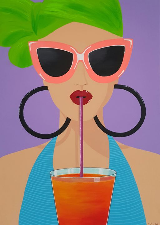 Women with drink - Painting,  27.6x19.7x1 in, ©2018 by Ana Von Laff -                                                                                                                                                                          Abstract, abstract-570, Women