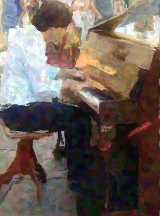 Time for Chopin  (Varsovie) - Mixed Media ©2018 by Emma LAFLÛTE -                                                        Figurative Art, Paper, Music