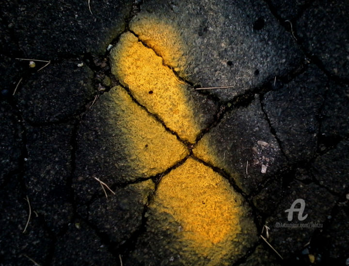 a summer long since passed - Photography ©2018 by Hal Studholme -                                                            Abstract Art, Paper, Abstract Art, yellow, black, darkness, moment, Studholme, road
