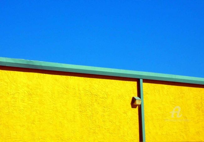 Young Americans - Photography, ©2010 by Hal Studholme -                                                                                                                                                                                                                                                                                                                                                                                                                                                                                                                                                                                                                                                                                                                              Geometric, geometric-572, Architecture, Florida, yellow, sky, buiding, beachtown, blue, lahtzu, halmarked, new, smyrna, shapes, Studholmes