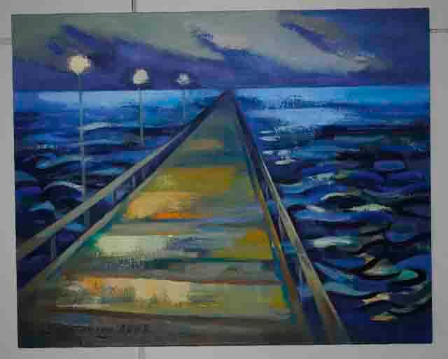 """Painting titled """"Road in the Sea"""" by Laine Kainaize, Original Art,"""