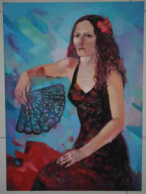 """Painting titled """"Dancer with fan"""" by Laine Kainaize, Original Art,"""