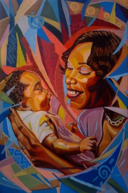 Mother and Child conversation - Peinture,  36x24 in, ©2012 par Lakeside -                                                                                                          painting of a Mother and child Playing and smiling, having a heart to heart conversation through close eyes contact.