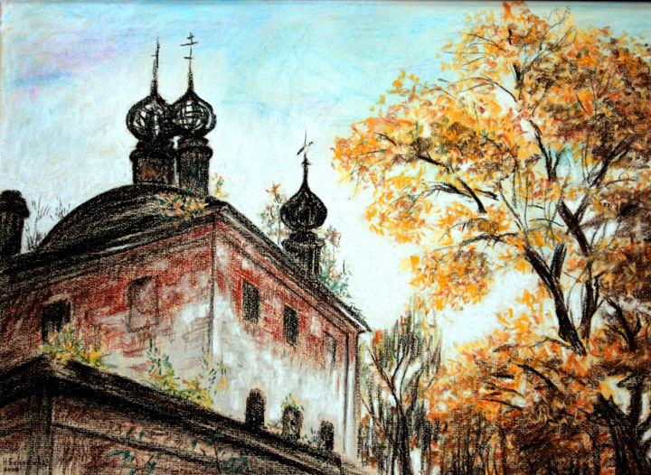 L'automne. Осень - Painting,  15.8x23.6 in, ©2009 by Natalia Laletina -