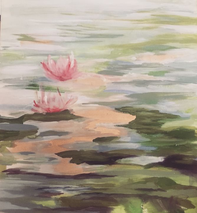 pond - Painting,  15.8x9.8x0.2 in, ©2019 by Lali -                                                                                                                                                                                                                                                                      Impressionism, impressionism-603, Nature, pond, whater lili