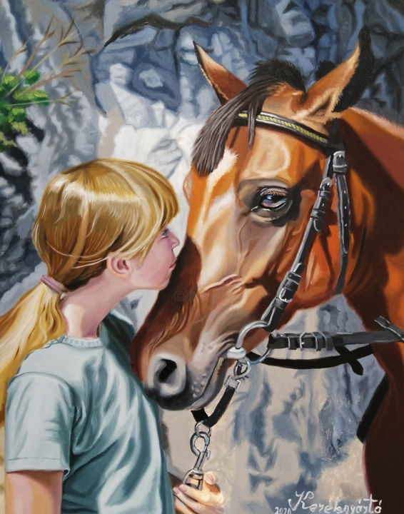 """Painting titled """"Girl with horse (po…"""" by Laller, Original Art, Oil"""