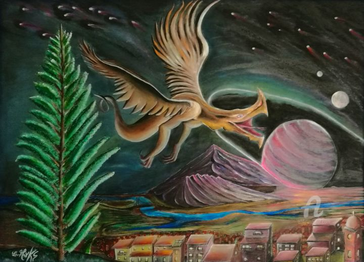 Anni luce dal pianeta terra.jpg - Painting,  90x125x0.3 cm ©2017 by La-marks -                                                                                    Surrealism, Wood, Outer Space, Time, Fantasy, anni luce dal pianeta terra, futuro, mostri, alieni, altri pianeti