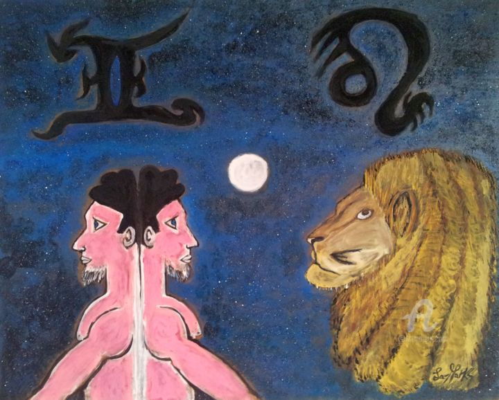 Segni del cuore.jpg - Painting,  40x50x0.4 cm ©2016 by La-marks -                                                                                                                                    Conceptual Art, Symbolism, Sand, Other, Ceramic, Wood, Fantasy, Love / Romance, Animals, ASTROLOGIA, gemini, lion, gemelli, leone, leeuw, tweeling, astrologie, astrology, love