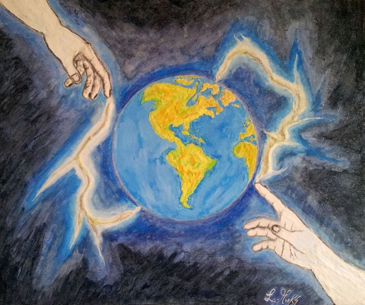 Creazione della terra.jpg - Painting,  50x60x1.5 cm ©2016 by La-marks -                                                                                    Symbolism, Other, Ceramic, Canvas, Spirituality, Terra, Creazione della Terra, Dio, mondo, creation of the world, crèation du monde, schepping van de wereld, 創世