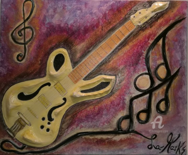 A suon di nota.jpg - Painting,  50x60x1.5 cm ©2016 by La-marks -                                                                                    Figurative Art, Symbolism, Ceramic, Canvas, Performing Arts, guitar, chitarra, la-marks, guitare, musique, notes, a suon di nota, music, musica, rock, pop, metal, gitaar, гитарa, notitie