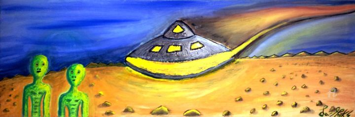 ALIENI-Sbarco-su-Marte.jpg - Painting,  30x89.7x1.4 cm ©2016 by La-marks -                                                                                                                        Figurative Art, Other, Canvas, Outer Space, Science-fiction, Landscape, Science, Science & Technology, Alieni, Aliens, Mars, Marte, sbarco su marte, landing op Mars, Landing sur Mars