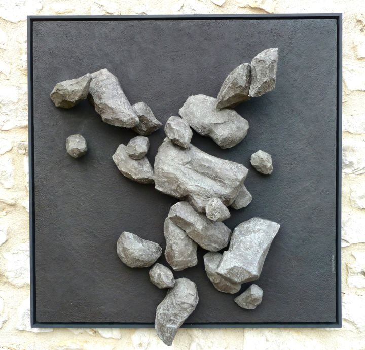 """Sculpture titled """"Rolling Stones"""" by Yves Pagart, Original Art, Paper maché"""