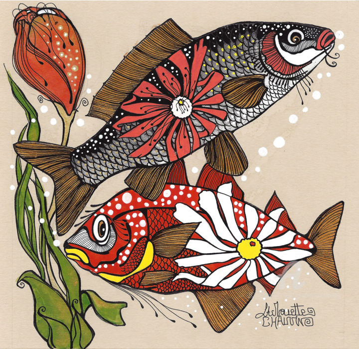 poisson-margueritte.jpg - Painting,  20x20 cm ©2018 by Aurelie Chauvin -                                                                                                            Figurative Art, Illustration, Paper, Animals, Nature, Seascape, Fish, poissons, illustrations poisson, nature, fond marin, fleur, dessin poisson