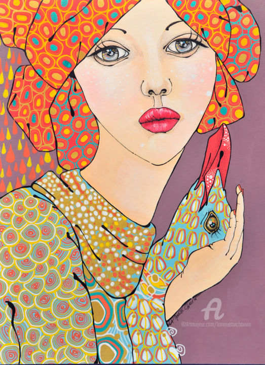 le-goeland-haute-jpg.jpg - Painting ©2016 by Aurelie Chauvin -                                            Art Deco, Paper, femme, portrait, oiseau, nature, orange