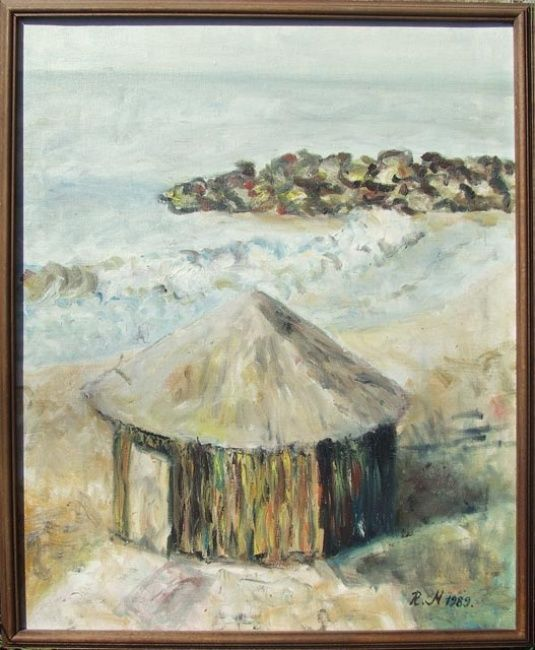 ITALY - Painting,  24.4x20.5 in, ©1989 by Landscape Art -                                                                                                                                                                                                                                                                                                                                                              Impressionism, impressionism-603, Landscape, Italy Beach and Bungalow, Landscape, Oil on Canvas, Impressionism