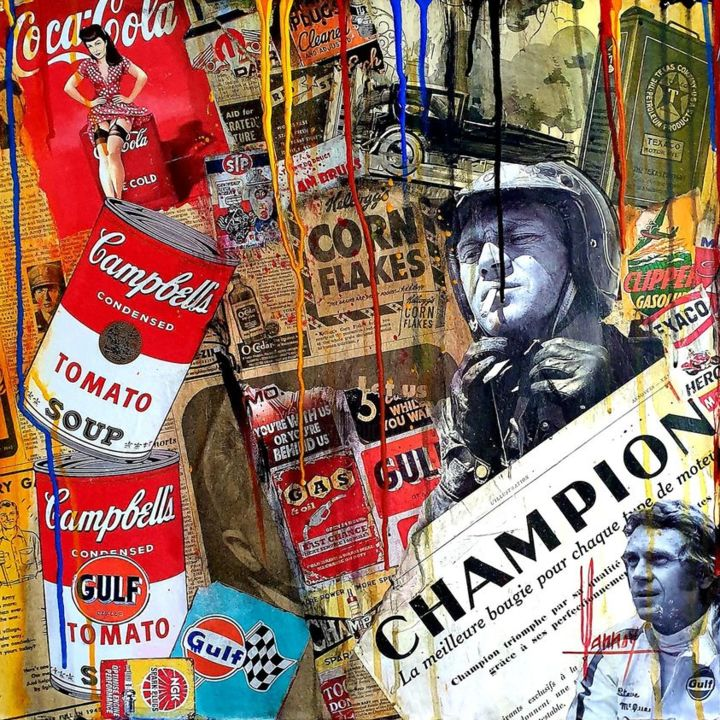 CHAMPION - Peinture,  19,7x19,7x1,6 in, ©2021 par Didier Lannoy -                                                                                                                                                                                                                      Pop Art, pop-art-615, STEVE MAC QUEEN, LE MANS