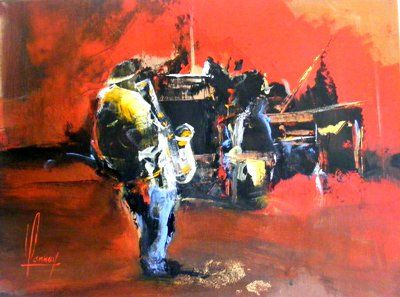 ENCORE UNE SOIREE JAZZ - Painting,  46x61 cm ©2011 by Didier Lannoy -