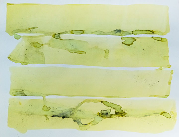 encre verte - Painting,  23.6x31.5x0.4 in, ©2020 by ELISABETH LAPLANTE -                                                                                                                                                                                                                                                                                                                                                                                                                                                                                                                                                                                                                                                                                                                                                                                                                                                                                                                                                                                                                                                  Abstract, abstract-570, Abstract Art, Colors, Light, poesie, poetry, legereté, lightness, paper, minimal art, minimalism, art contemporain, contemporary art, papier, encres, ink, pigment, vert, green, springtime, spring