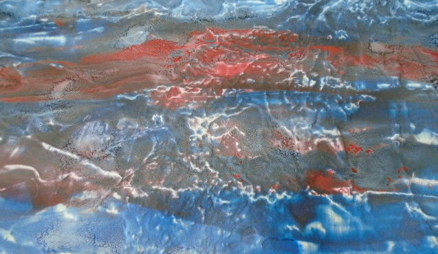 Mer sous la brume - Painting,  14.2x26x1.2 in, ©2019 by Eveline Ghironi (khava) -                                                                                                                                                                                                                                                                                                                                                                                                                                                                                                                                                                                          Abstract, abstract-570, Water, eau, mer, brume, bleu, rouge, peinture, tableau, art, oeuvre