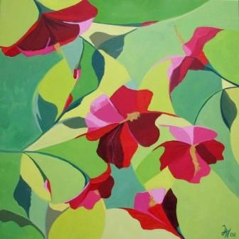 HIBISCUS PARTY - Painting,  19.7x19.7 in, ©2008 by Lara Meissirel -                                                                                                                                                                                                  hibiscus, tropical flowers, green, red