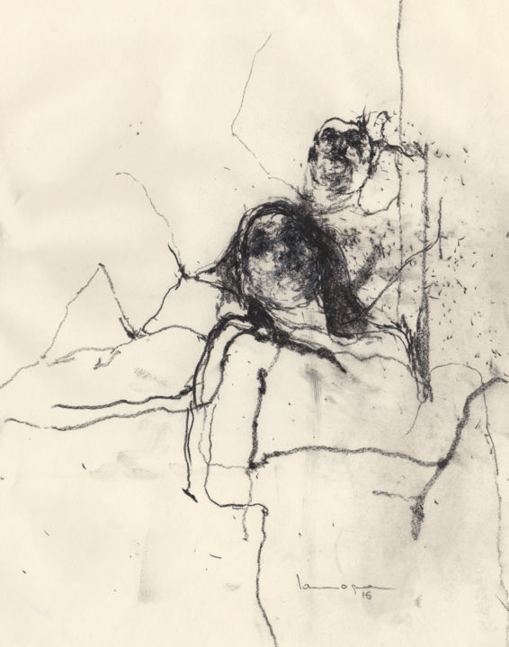 Couple Nude - Drawing,  29x23x0.1 cm ©2016 by Guillaume Larroque -                                                                                Figurative Art, Paper, Women, Men, Nude