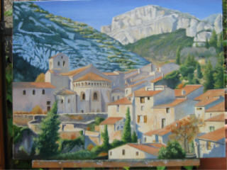 st guilhem le désert  abbaye de gellone - Painting,  19.7x24 in, ©2007 by Brigitte Bouysse -                                                                                                                                                                          Figurative, figurative-594, huile village abbaye monastere herault