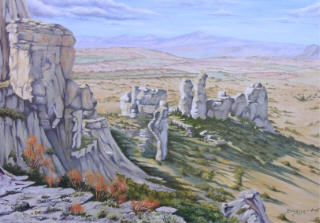 rajal del corp - Painting,  24x31.9 in, ©2007 by Brigitte Bouysse -                                                                                                                                                                          Figurative, figurative-594, huile paysage plateau larzac