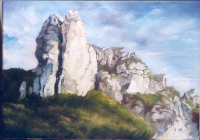 rochers - Painting,  15x21.7 in, ©2001 by Brigitte Bouysse -                                                                                                                                                                          Figurative, figurative-594, huile rocher rochers riviere aveyron falaises