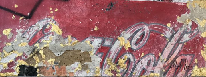 Coca Cola Gold and Red - Painting,  23x59.1 in, ©2018 by Alfredo Romero -                                                                                                                                                                                                      Cotton, Canvas, Other, Time