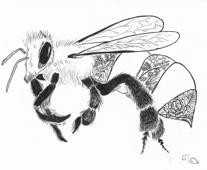 Bee - Drawing,  4.1x4.9 in, ©2017 by La Souris -                                                                                                                                                                                                                                                                                                                                                                                                                                                                                                                                                                                                                                      Illustration, illustration-600, Animals, Flower, abeille, fleur, dessins, animaux, animal, forêt, nature, plante, végétaux