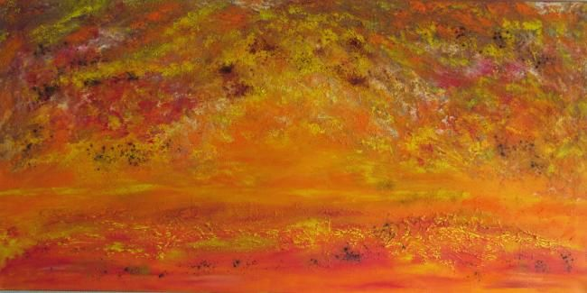 HELIOS - Painting,  19.7x39.4 in, ©2013 by Marc Lasserre -                                                                                                                                                                          Abstract, abstract-570, COUCHER DE SOLEIL ABSTRACTION