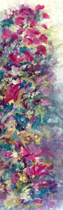 FLORAISON - Painting,  23.6x7.9 in, ©2017 by Léti -                                                                                                                                                                                                                                                                                                                                                              Abstract, abstract-570, Abstract Art, Colors, Flower, floraison, tableau abstrait