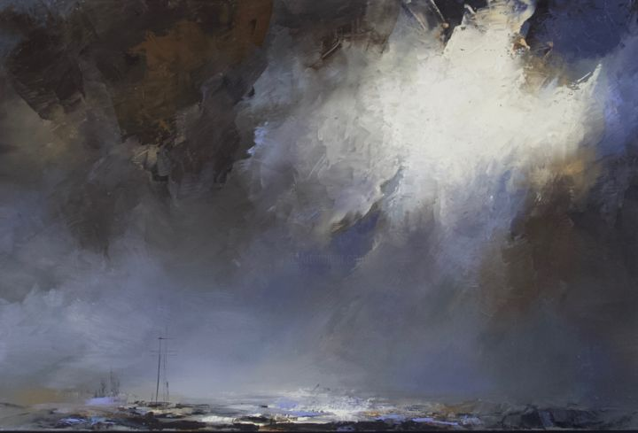 """Painting titled """"'Zen on the sea11'"""" by Laura Rominu, Original Art, Oil Mounted on Other rigid panel"""
