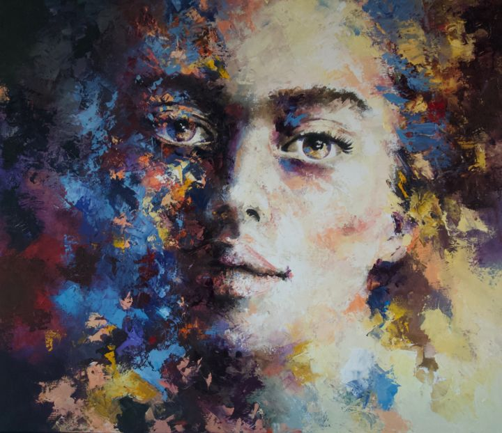 """Painting titled """"'Expression46'"""" by Laura Rominu, Original Art, Oil"""
