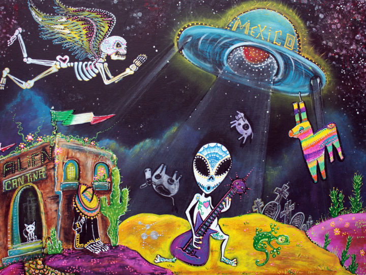Area 54 - Painting,  18x24x0.5 in ©2014 by Laura Barbosa -                                                                                                                                                                                                            Conceptual Art, Expressionism, Figurative Art, Folk, Outsider Art, Surrealism, Canvas, Animals, Cows, Fantasy, Humor, Landscape, Music, Outer Space, Science-fiction, alien, extra terrestrial, flying disk, abduction, , beam me up, musician, fantasy world, Mexico, day of the dead, dia de los muertos, cantina, cat, sombrero, desert, angels, skeletons, sugar skulls, flying saucer, UFO, unexplained, gecko, graveyard, landscape scene