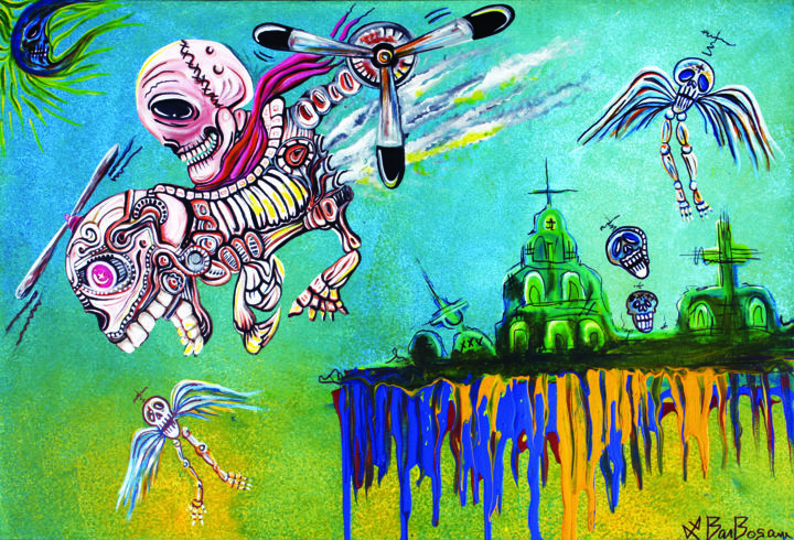 The Flying Dead - Painting,  24x30x0.5 in ©2012 by Laura Barbosa -                                                                                                                                                            Conceptual Art, Figurative Art, Folk, Surrealism, Canvas, Airplane, Architecture, Dark-Fantasy, Fantasy, Mortality, Spirituality, day of the dead, los muertos, skeletons, sugar skulls, skulls, spirits, death, life, helicopter, fantasy helicopter, pilot, creatures, unique, original, weird, cool, street art, graffiti, tattoo, creative, bazaar, odd, oddity, red baron, drip, dripping, sky, skyscape, scene, theme, angels, flying skeletons